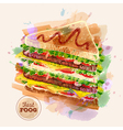 Watercolor Hamburger or Sandwich Fast Food sketch vector image