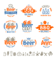 Barbecue and craft beer brewery emblems vector image