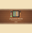 banner sushi rolls set sushi time chopsticks vector image