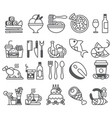 black line set of flat icons and elements vector image