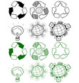 different design of recycle symbols vector image