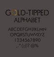 gold-tipped abc with numbers and punctuation marks vector image