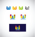 Letter w logo icon set vector image