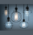 loft style lights icon set vector image
