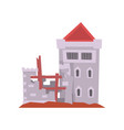 old castle with iron grating on windows red vector image