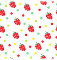seamless pattern with strawberries and polka dots vector image