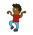 comic cartoon happy man doing funny dance vector image