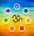 Chakra icon set on colorful blur background vector image
