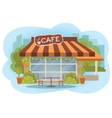Cafe building facade with outdoor street chair vector image
