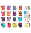 colorful modern rucksacks and school supplies set vector image