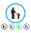 father with son rounded icon vector image