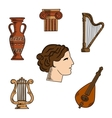 Greece architecture music and art icons vector image