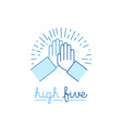 in flat style - high five vector image