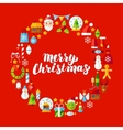 Merry Christmas Flat Circle Objects vector image