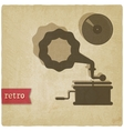 old background with gramophone and record vector image