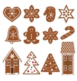 Set of gingerbread figures vector image