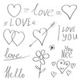 valentine elements doodle hand drawn calligraphy vector image