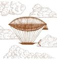 Zeppelin in Clouds on Sky Hand Draw Sketch vector image