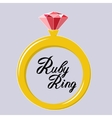 golden ring with ruby gem icon vector image