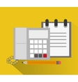 Notebook phone and pencil of office design vector image