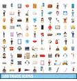 100trade icons set cartoon style vector image
