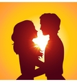 Sunset silhouettes of kissing couple vector image