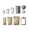 Bag packaging and take away coffee cups vector image