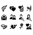 Love and dating icons vector image