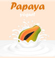a splash of milk from a falling papaya and drops vector image