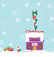 Merry christmas background with santa claus vector image