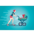 Mother skateborading with pram Woman stroller vector image