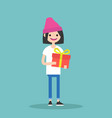young happy girl holding a bright gift box vector image