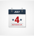 july fourth calendar design background vector image vector image