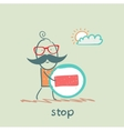 with sign stop vector image
