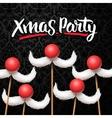 Office Christmas Party card Santa moustache vector image