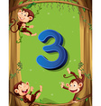 Number three with 3 monkeys on the tree vector image vector image
