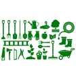 set isolated green garden tools vector image