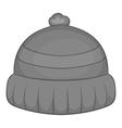 Winter hat icon black monochrome style vector image