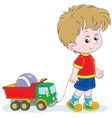 Boy walking with toys vector image vector image