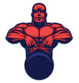 bodybuilder mascot hold the kettlebell vector image