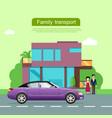 family transport flat web banner vector image