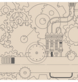 horizontal line steampunk gear seamless pattern vector image