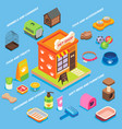 pet store flat isometric icon set vector image
