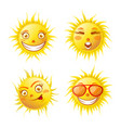 smiling yellow sun poster of four isolated on vector image