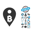 Bitcoin Map Marker Flat Icon with Bonus vector image