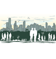 outline silhouette of the city with crowd of vector image vector image