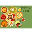 Dishes of Great Britain and thai salad icon vector image