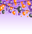 Halloween background with hanging flags and vector image