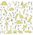 abstract seamless pattern with dinosaurs vector image