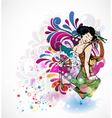 colorful background with geisha vector image vector image